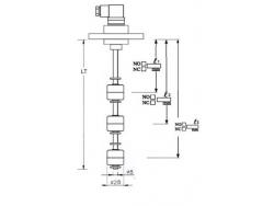 Indicador de nivel multipunto con brida PVC, 3 contactos en INOX 316 Inox3