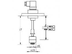 Indicador de nivel salida de 0 a 1 con brida PVC, 1 contacto en INOX 316 Inox1