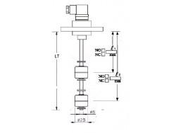 Indicador de nivel multipunto con brida PVC, 2 contactos en INOX 316 Inox2