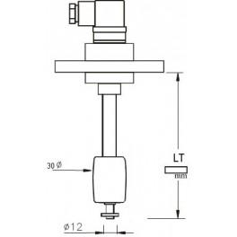 control de nivel magnético, salida 0 a 1 con brida PVC, 1 contacto en PVC REF. PVC1