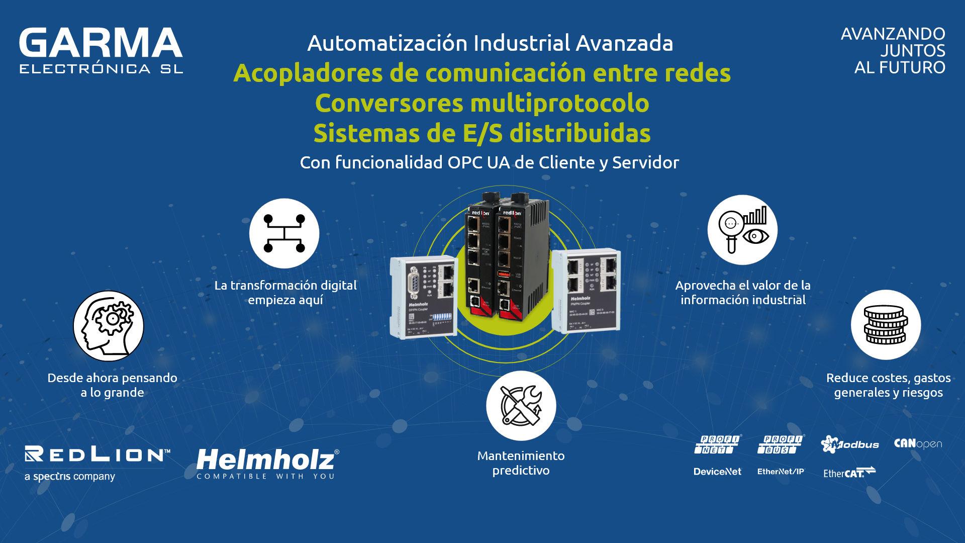 Sistemas de comunicación entre redes HelmHolz, estaciones de conversión de protocolos, sistemas de adquisición de datos Red Lion